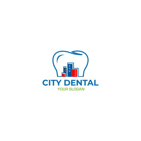City Dental Logo Design Vector Standard-Bild - 130411529