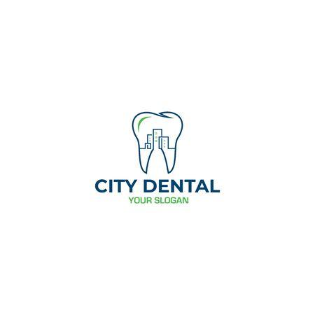 City Dental Logo Design Vector Standard-Bild - 130411531