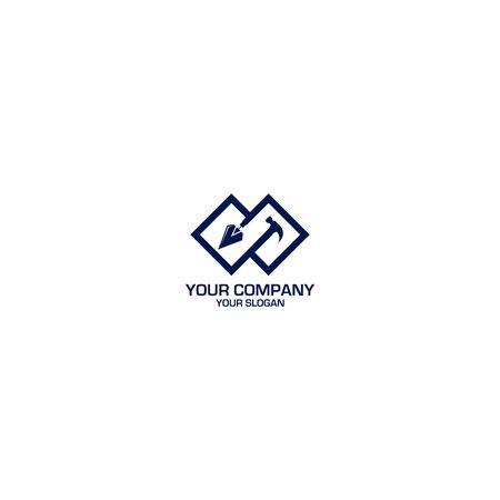 Trowel and Hammer Logo Design Vector