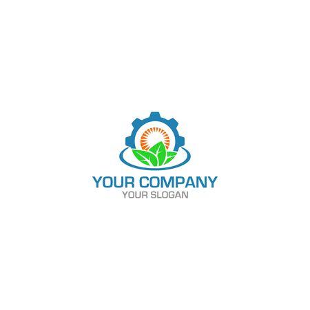 Vecteur de conception de logo d'ingénierie agricole fraîche