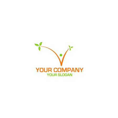 V People Leaf Logo Design Vector Illustration