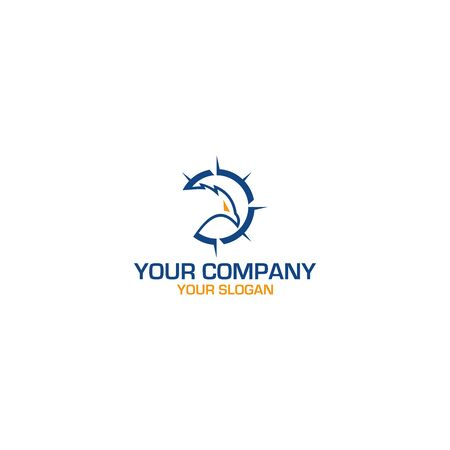 Eagle Compass Logo Design Vector