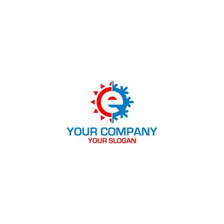 E HVAC Logo Design Vector