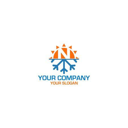 N HVAC Logo Design Vector