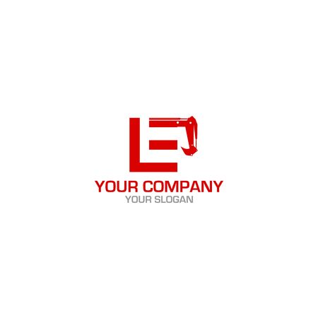 LE Excavation Logo Design Vector
