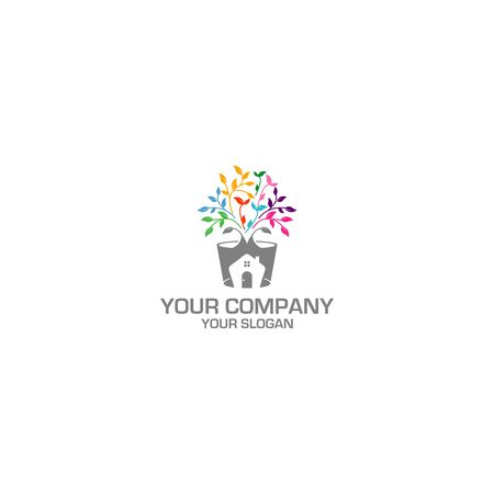 Home Potted Logo Design Vector