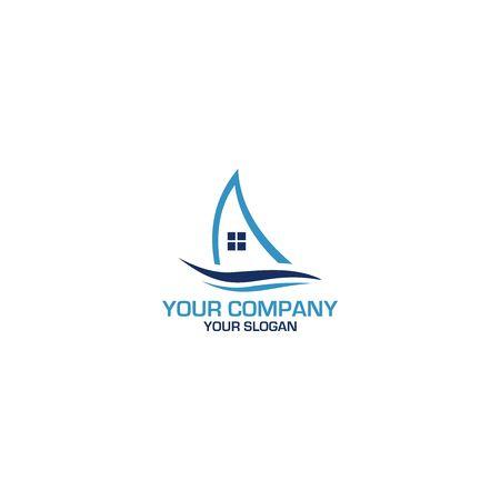 Sailing Home Logo Design Vector Illustration