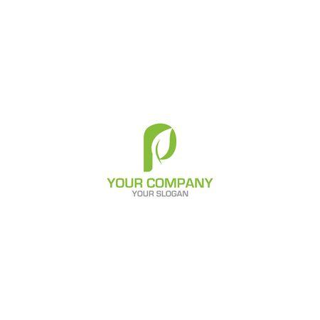 P Leaf Logo Design vector Ilustração