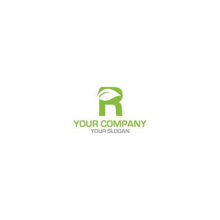 R Leaf Logo Design vector