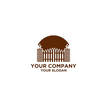 Fence with Brick and Lamp Logo Design vector