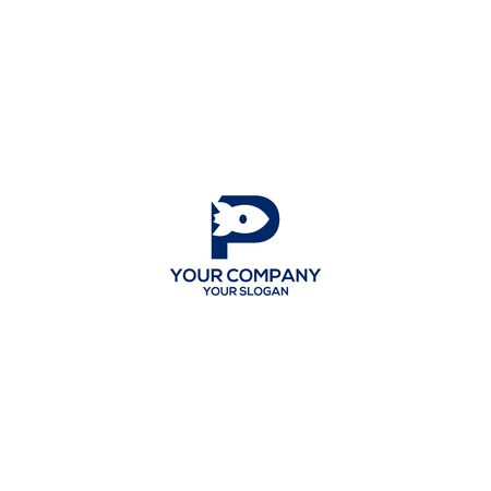 P Rocket Logo Design Vector Ilustração