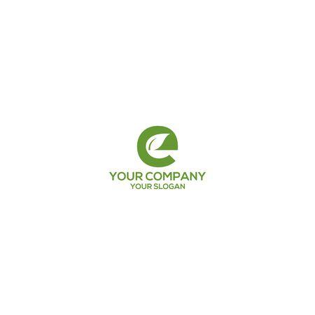 E Leaf Logo Design Vector Ilustração