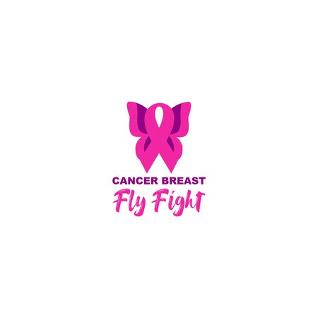 Fight Fly Breast Cancer Logo Design Vector