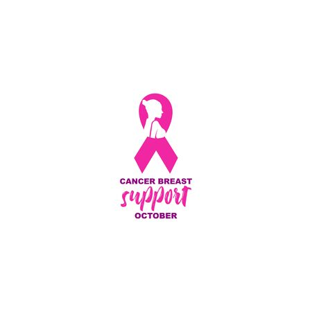 Lady Fight Breast Cancer Logo Design Vector