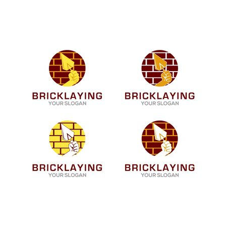Bricklaying Construction Logo Design Vector Illustration