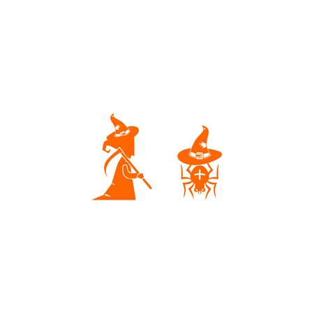 Witch And Spider Halloween Set Template Vector