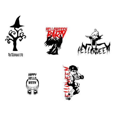 halloween night party element set template vector