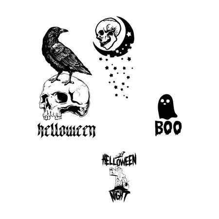 skull ghost and graveyard halloween element vector