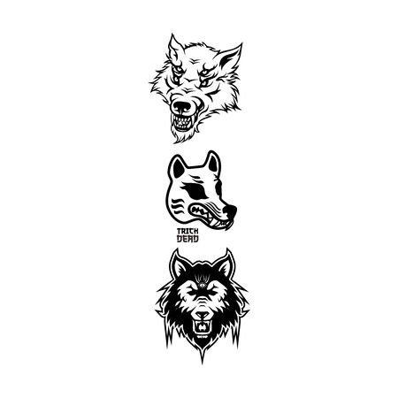 halloween werewolf head element vector 일러스트