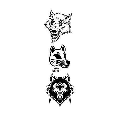 halloween werewolf head element vector Illustration