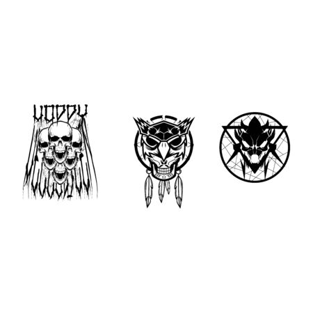 Voodoo-Maske-Halloween-Element-Vektor