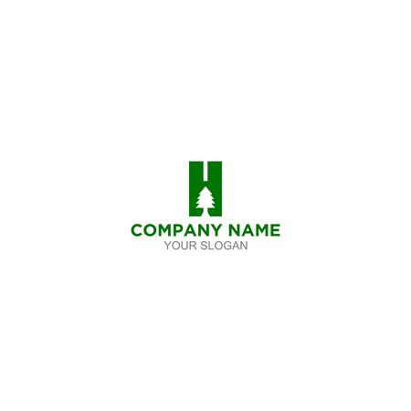 H Pine Logo Design Vector