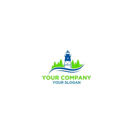Simple Lighthouse with Pine Trees Logo Design Vector