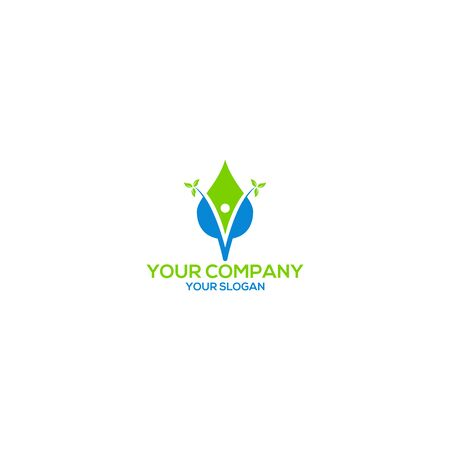 V Man with water and leaf logo design vector
