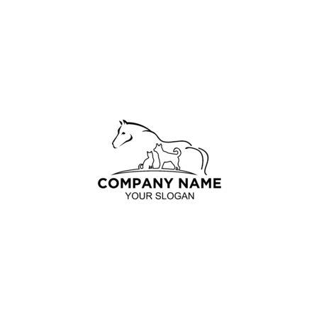 Animal Care Line Logo Design Vector