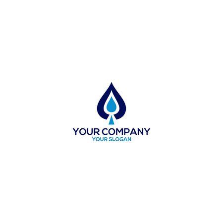 Water Drop in Spade Logo Design Vector