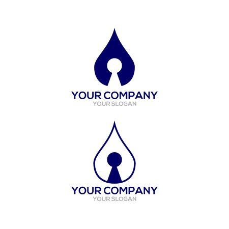 Water KeyHole Logo Design Vector