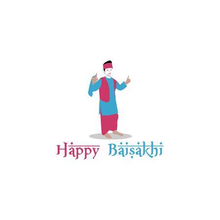 costume child happy baisakhi cartoon illustration