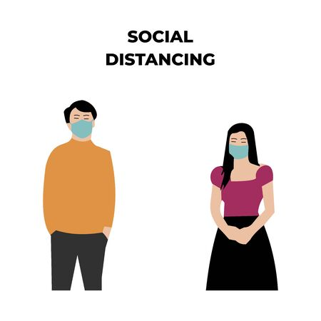 dating couple in social distancing illustration