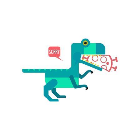 Dino eat Coronavirus illustration design