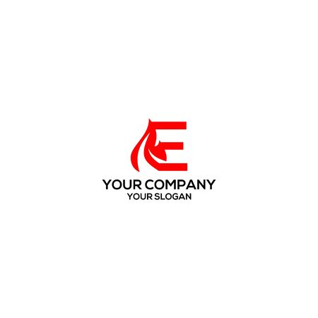 E Fire Logo Design Vector