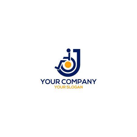 J Disability Logo Design Vector