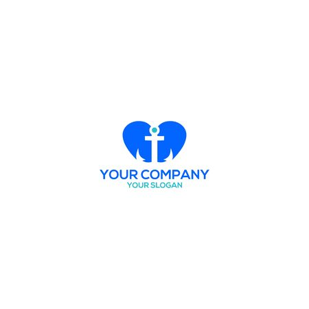 Love Anchor Logo Design Vector