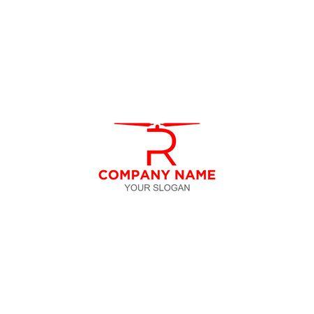 R Drone Logo Design Vector