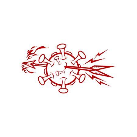 spear pierced the coronavirus illustration