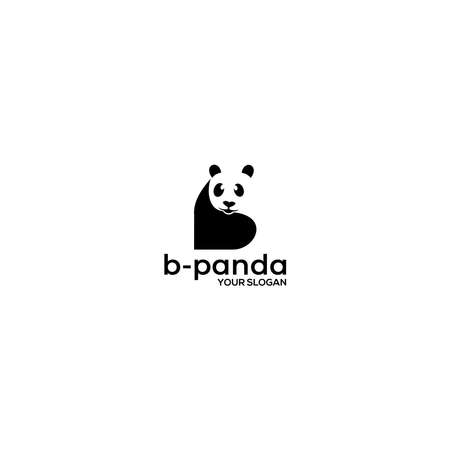 B Panda Logo Design Vector Logó