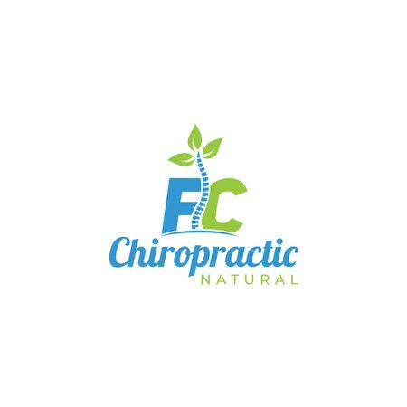 FC Chiropractic Natural Logo Design Vector