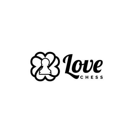 Love Pion Chess Logo Design Vector