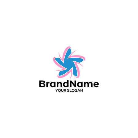 V Around Star Logo Design Vector