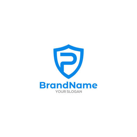 Shield P Logo Design Vector