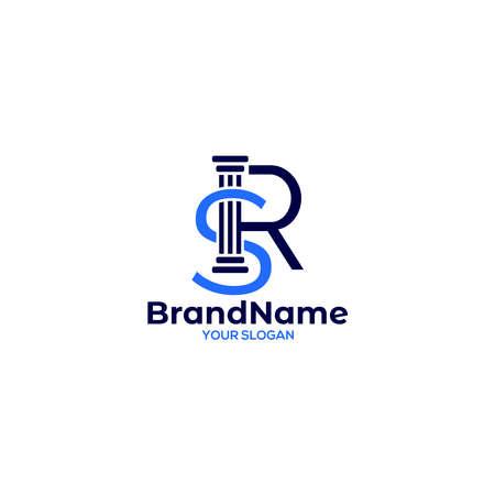SR Pillar Logo Design Vector