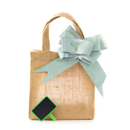 sheeting: natural gunny bags with lable Stock Photo