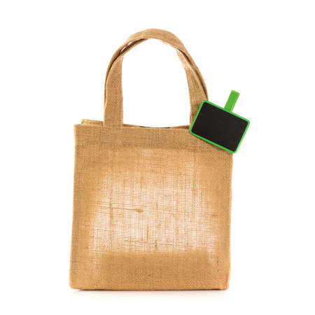 lable: natural gunny bags with lable Stock Photo