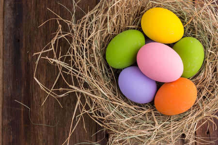 antique background: Easter eggs in nest on old wooden background