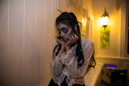 october 31: BANGKOK, THAILAND - OCTOBER 31, 2014: People take part in the Zombie at the chocolate ville park and restaurant on BANGKOK, THAILAND - OCTOBER 31, 2014.