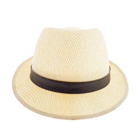 hombre con sombrero: Sombrero de paja de Brown aislado en el fondo blanco Foto de archivo